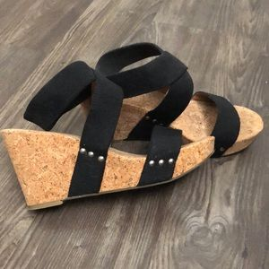Lucky Brand Marinah Wedge Sandals Black 10